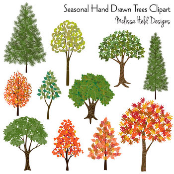 Clipart Trees: Hand Drawn Clipart