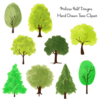Hand Drawn Trees Clipart By Scrapster By Melissa Held Designs Tpt