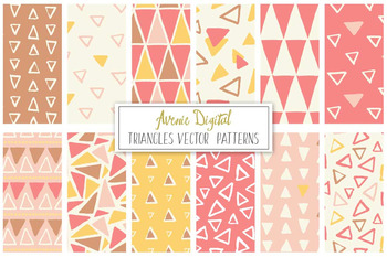 Hand Drawn Triangles Patterns Digital Paper - Vectors