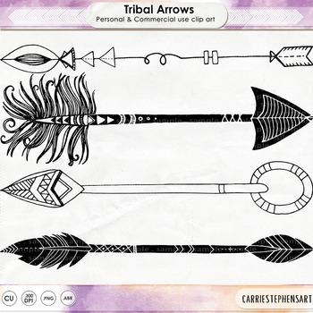 Hand Drawn Tribal Arrows, Line Art + Silhouette versions, PNG & PS Brushes