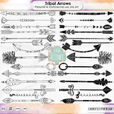 Hand Drawn Tribal Arrow LineArt, Doodle Arrow ClipArt, Lon
