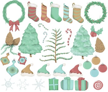 Hand Drawn, Whimsical, Festive, Christmas Clip Art