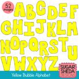 Hand Drawn Yellow Bubble Alphabet Letters Digital Clipart