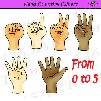 Hand Finger Counting Clipart Pack - Color & Black and White PNG