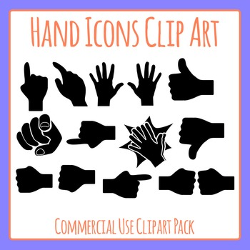 Hand Icons Clip Art Set for Commercial Use - pointing / th