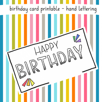 graphic about Happy Birthday Lettering Printables titled Hand Lettering Birthday Card through teacherwcoffee TpT
