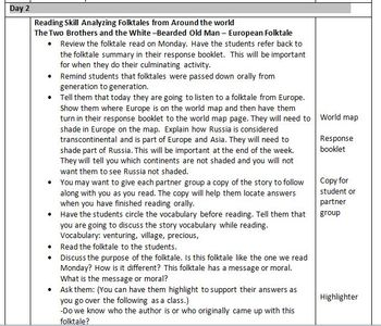 Hand Me Down Tales:Folktales Around The World (Week 2) Weekly Lesson Plan