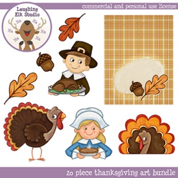 Hand Painted 20 piece Thanksgiving Clipart, personal and commercial use