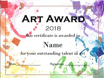 Hand Painted Art Certificate