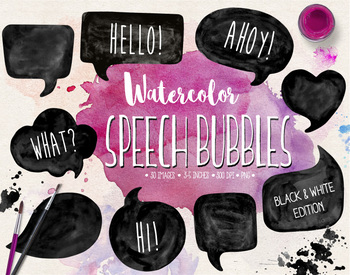 Hand Painted Black & White Watercolor Speech Bubble Clipart - 30 PNGs