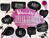 Hand Painted Black & White Watercolor Speech Bubble Clipar