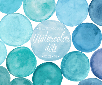 Hand Painted Blue Watercolor  Dots, Circles, Splotches Clipart - 12 PNG