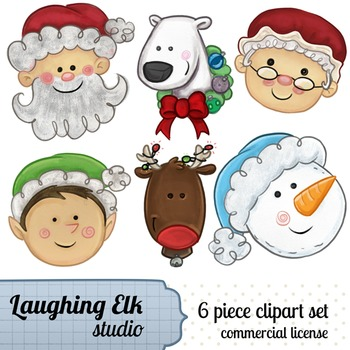 Hand Painted Christmas Clipart; Mixed cast of christmas characters