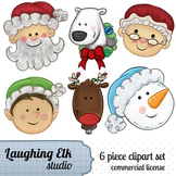 Hand Painted Christmas Clipart; Mixed cast of christmas ch
