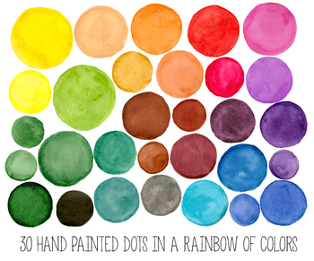 Hand Painted Colorful Watercolor  Dots, Circles, Splotches Clipart - 30 PNG