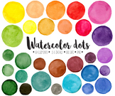 Hand Painted Colorful Watercolor  Dots, Circles, Splotches