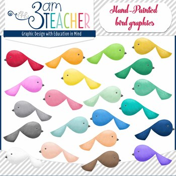 Hand-Painted Birds Clip Art Set