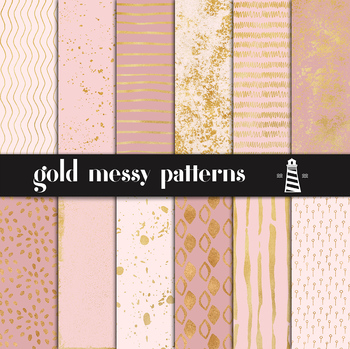 Hand Painted Gold Patterns, Gold Messy Patterns, Gold Digital Paper
