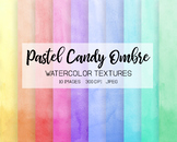 Hand Painted Pink, Blue, Green Ombre Watercolor Digital Pa