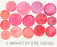 Hand Painted Pink Watercolor Dots, Circles, Splotches Clipart - 15 PNG