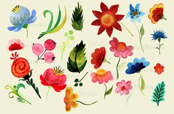Hand-Painted Watercolor Bright Flowers Clip Art - Digital - Wreath