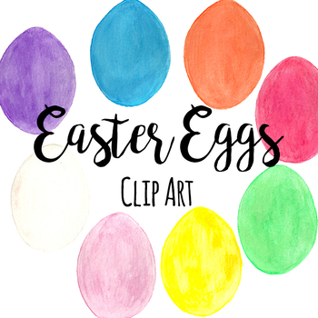Hand Painted Watercolor Easter Eggs ClipArt