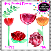 Hand Painted Watercolor Flowers Clip Art