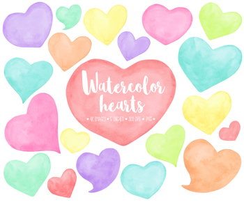 Hand Painted Watercolor Hearts Clipart. Pastel Mother's Day Clipart - 48 PNGs
