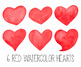 Hand Painted Watercolor Hearts Clipart. Red, Pink & Peach Mother's Day Clipart.