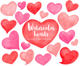 Hand Painted Watercolor Hearts Clipart. Red, Pink & Peach