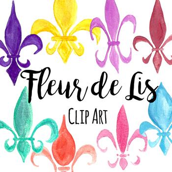 Hand Painted Watercolor Mardi Gras Fleur de Lis Clip Art
