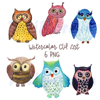 Hand-Painted Watercolor Owl Clip Art