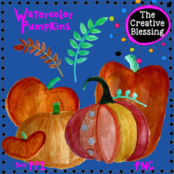 Hand Painted Watercolor Pumpkin Clip Art