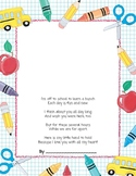 First Day Hand Print Poem Project (Kissing Hand)