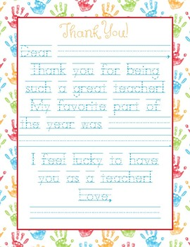 Hand Print Teacher Appreciation Note - Traceable, Fill in the Blank Letter