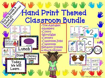 Classroom Organization Resources BUNDLED (20 hand-print themed items)