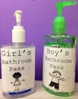 Hand Sanitizer Bathroom Pass