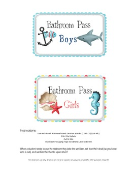 Hand Sanitizer Bathroom Pass Labels - Ocean Theme