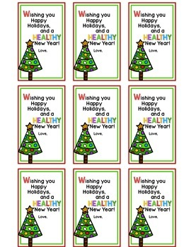 Hand Sanitizer Gift tags for Classroom Student Holiday Gifts - FREEBIE!