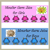 Hand Sanitizer Labels ~ Germ Juice ~ Monsters