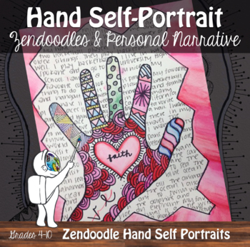 Hand Self-Portrait Art with ELA - Zendoodle Hand Project w/ Video Demonstrations
