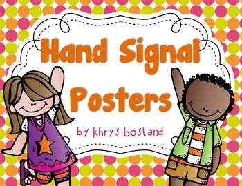 Hand Signal Posters Bright Colorful ClassroomQuiet Signal Clipart