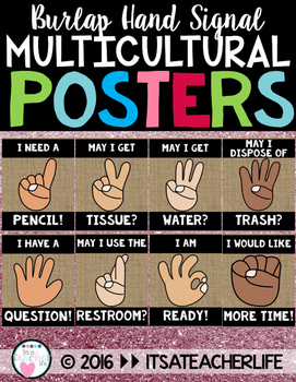 Hand Signal Posters | Burlap & Multicultural
