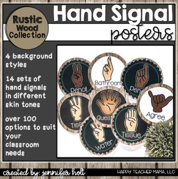Hand Signal Posters (Farmhouse Rustic Wood)