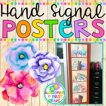Hand Signal Posters {Wood and Watercolor Flowers}