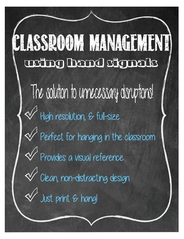 Hand Signal Posters for Classroom Management