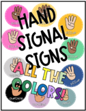 Hand Signal Signs-  30 + Color Options
