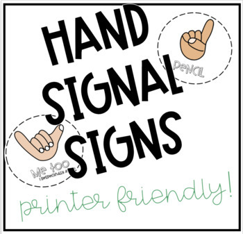 Hand Signal Signs- Printer Friendly