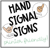 Hand Signal Signs- Printer Friendly