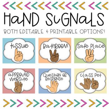 Hand Signals (Printable & Editable Options)